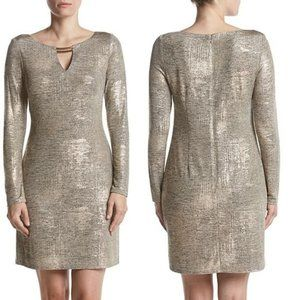 NWT Vince Camuto Gold Shimmer Keyhole Dress